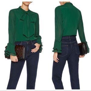 NWT Walter Baker Issac Top Emerald Green Blouse